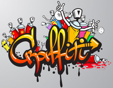 Decorative graffiti art spray paint letters and characters composition abstract wall aerosol sketch grunge vector illustration