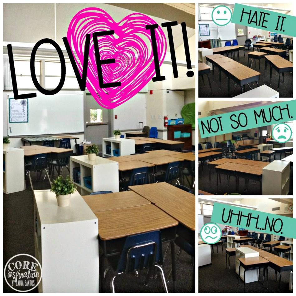 Setting up classroom desks.