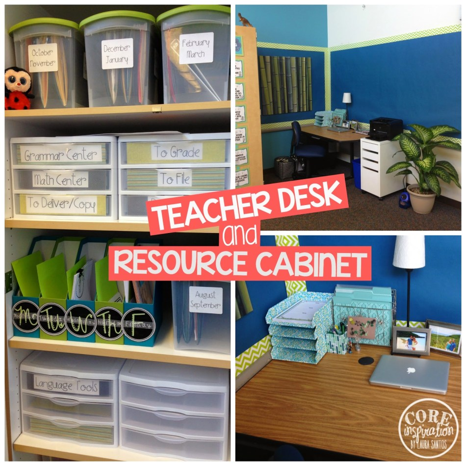 Core Inspiration teacher desk and resource cabinet.