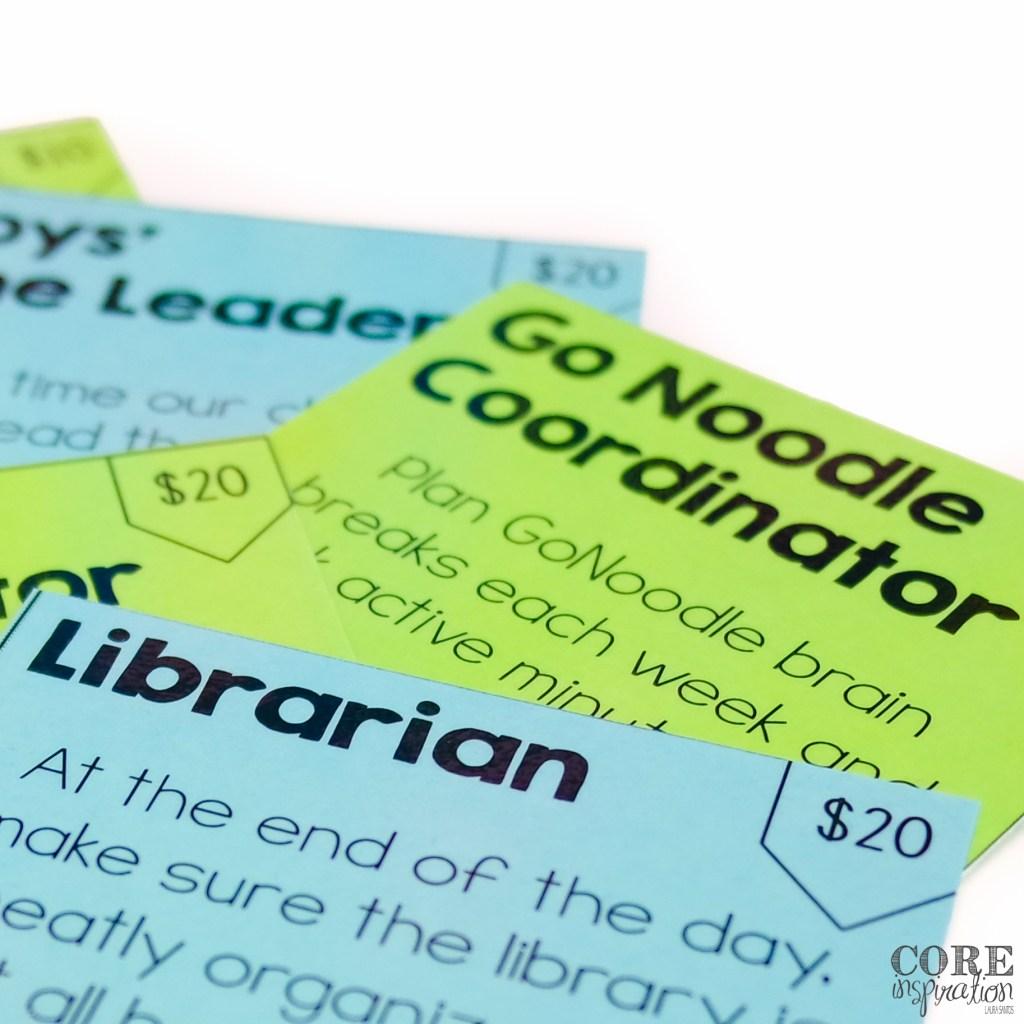Core Inspiration Classroom Job Card System