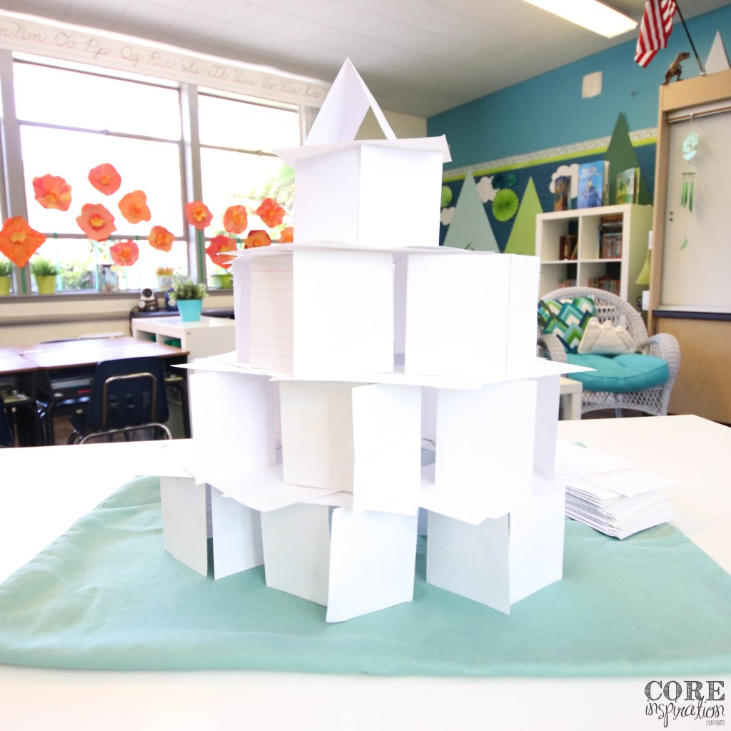 Castle made of white 3x5 index cards.