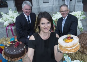 Gerard Murphy Chairman Munster Agricultural Society , Tracy Coyne winner of the Great Bake Ulster Bank and Tom Leahy Regional Director Ulster Bank Pictured at the announcement of Ulster Bank's sponsorship of the Cork Summer Show 2015.Munster Agricultural Society and Ulster Bank are proud to partner on the Cork Summer Show to demonstrate their support for the agriculture and food sector in Ireland as the sector continues to grow and develop as a major contributor to the Irish economy.     pictures Gerard McCarthy