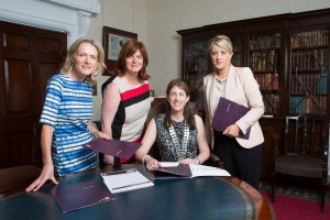 DKANE 12/08/2015 REPRO FREE. Vicki Crean, Manager, AIB , Audrey Houlihan, Manager, AIB, Helen Wycherley, President, Network Cork and Elmarie Kelleher, Regional Business Banking Manager, AIB  at the launch of the Network Cork event on Demystifying the World of Personal Branding which takes place in AIB, 66 South Mall on 2 September. Pic Darragh Kane.