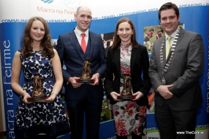 Eilis Ahern, Colm Stenson and Marie Murphy with Sean Finan, Macra National President, after their win at the Macra National Leadership Awards.