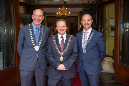 Pat O'Connell, Lord Mayor Chris O'Leary and Paul O'Connell are pictured at the 200 year anniversary celebrations of The Imperial Hotel in Cork city. The gala evening took place in the newly refurbished hotel which is located in the heart of Cork City on South Mall. Photo by Conor Healy Photography, ***NO Repro Free***