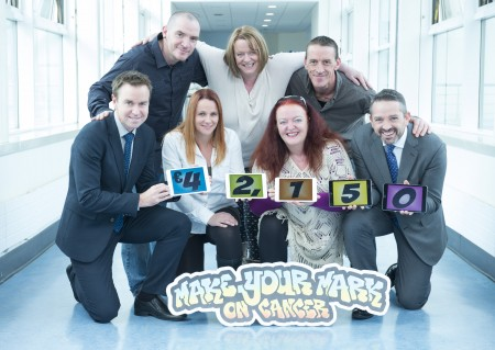 free pic no repro fee Pictured are Eoin Prendergast, Fiona Curran, Sue O'Mahony, Carol Crean, and Damien Prendergast, organisers of the 'Make Your Mark on Cancer' walk which raised €42,150 in July in aid of The Mercy Cancer Appeal; with Dr Derek Power, Consultant Oncologist at The Mercy University Hospital and Micheál Sheridan, CEO, Mercy Hospital Foundation. Photography by  Gerard McCarthy 087 8537228 more info contact  Alison O'Brien   Fuzion Communications   021 4271234     086 3879388
