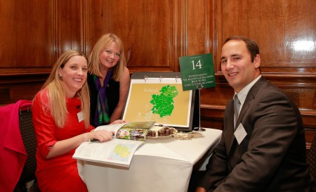 REPRO FREE 05/10/2015, London – Thirty-eight (38) Irish tourism enterprises travelled to London this week, to take part in Flavours of Ireland 2016. Flavours is Tourism Ireland's annual B2B tourism workshop, now in its 14th year, which saw some 100 representatives of the top inbound tour operators based in Britain come together to do business with the various Irish tourism companies. PIC SHOWS: Karen Fleming, Hayfield Manor Hotel; Sinéad Smith, Tourism Ireland; Adam Braverman, Tracoin, at Flavours of Ireland 2016 in London. Pic – Patrick Balls (no repro fee) Further press info – Sinéad Grace, Tourism Ireland 087-685 9027