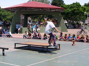 Skateboarding in a park in Costa Rica