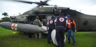 Costa Rica Medical Evacuation Personnel help in flood relief
