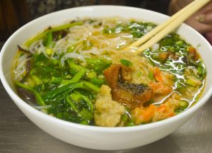 The noodle soup is one of the most delicious Vietnamese dishes.
