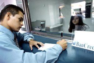 Customer making a transaction at the bank.