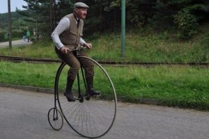 Old-fashioned model bicycle