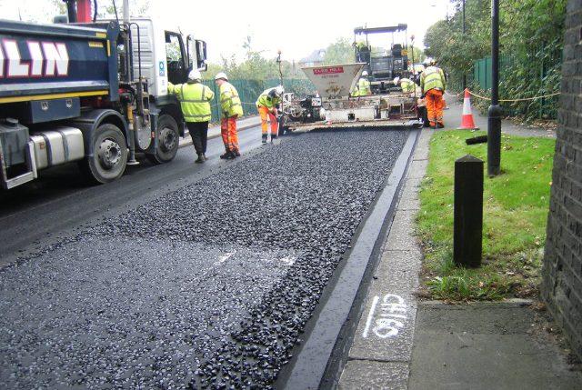 Asphalt road made of plastic waste