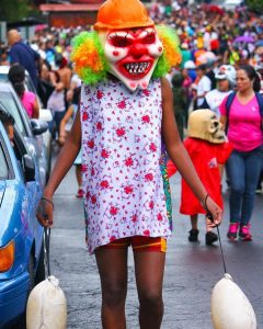 Clown with pig bladders, Barva