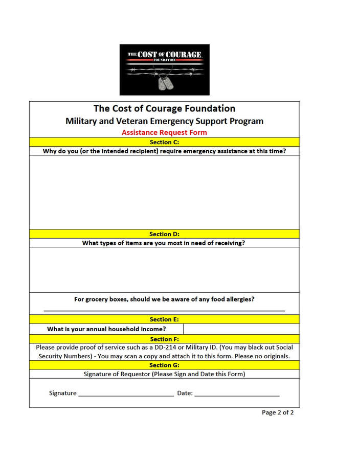 Military and Veteran Emergency Support Program - The Cost of Courage ...