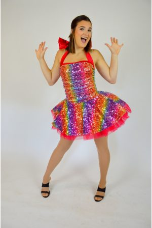 multicolor sequin petticoat dress