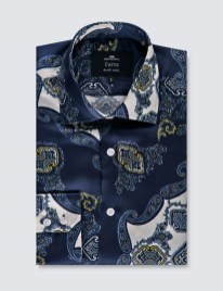 Men's Navy & Gold Paisley Print Slim Fit Shirt – 100% Silk
