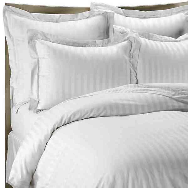 Plain White Striped Duvet Cover Set