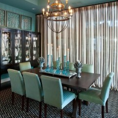 House Of Turquoise Living Room Throw Blankets 50 Shades The Best Aqua Home Decor Cottage Market This Dining Uses On Walls And Chairs While Other Colors Like