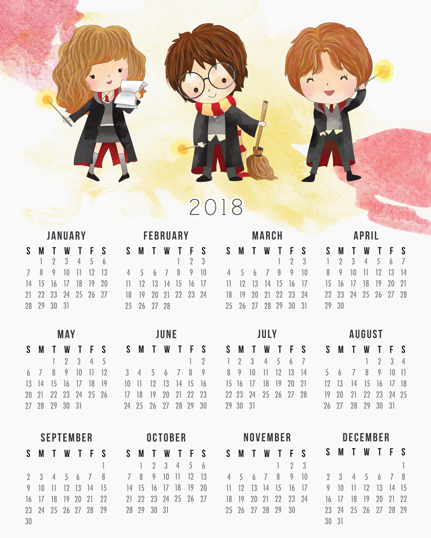 Free Printable 2018 Harry Potter Calendar The Cottage Market