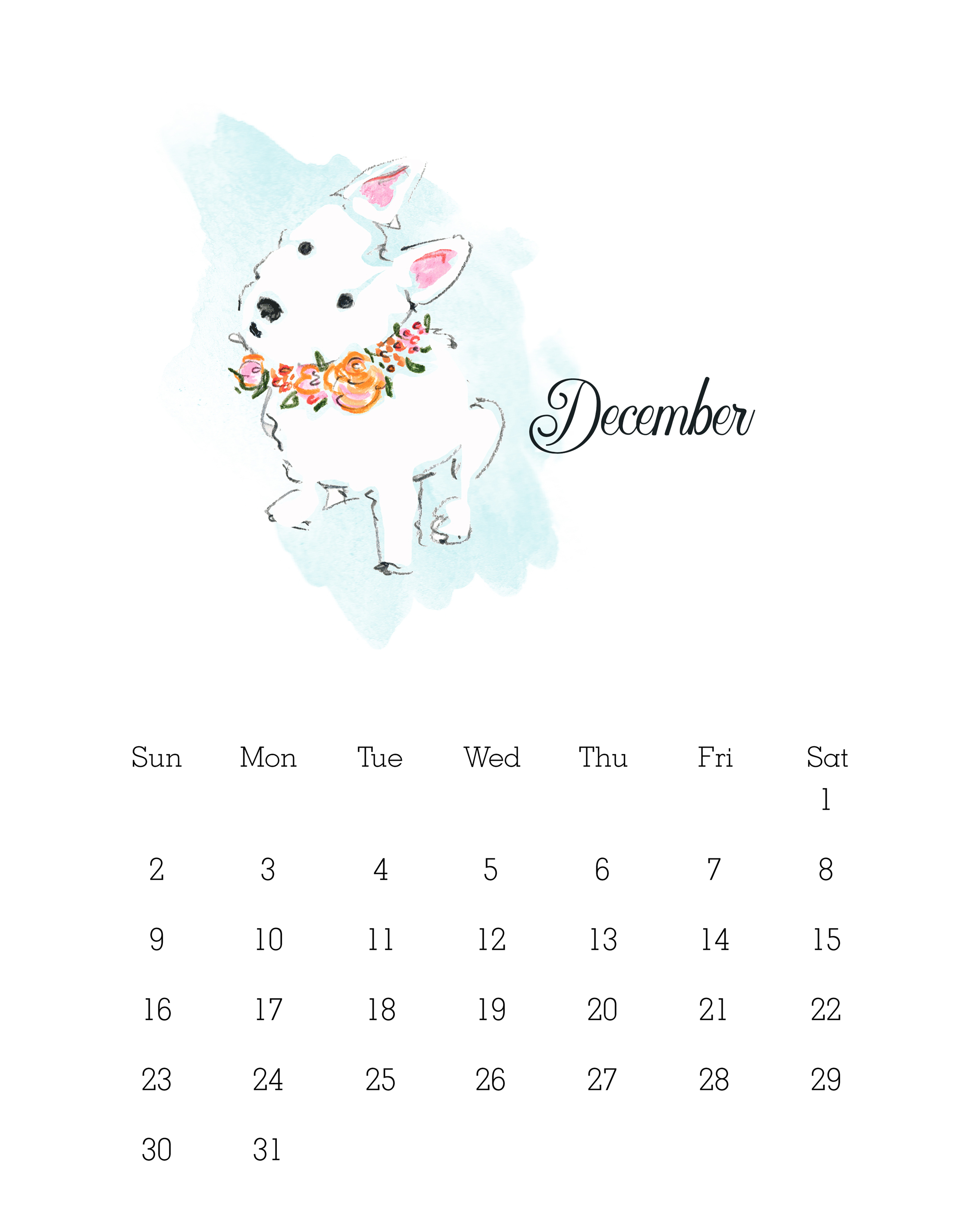Free Printable 2018 Watercolor Dog Calendar The Cottage