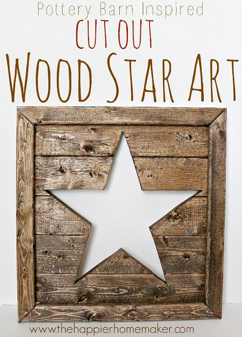 Pottery Barn Wood Star Art Knock Off1