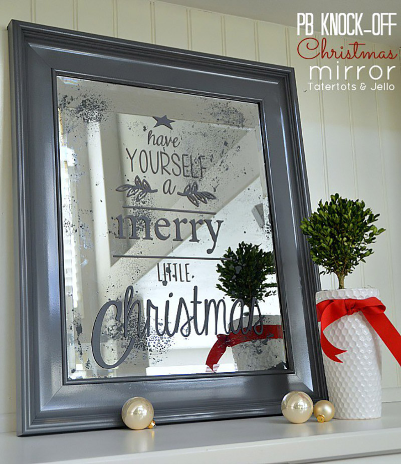 pottery barn inspired christmas mirror22