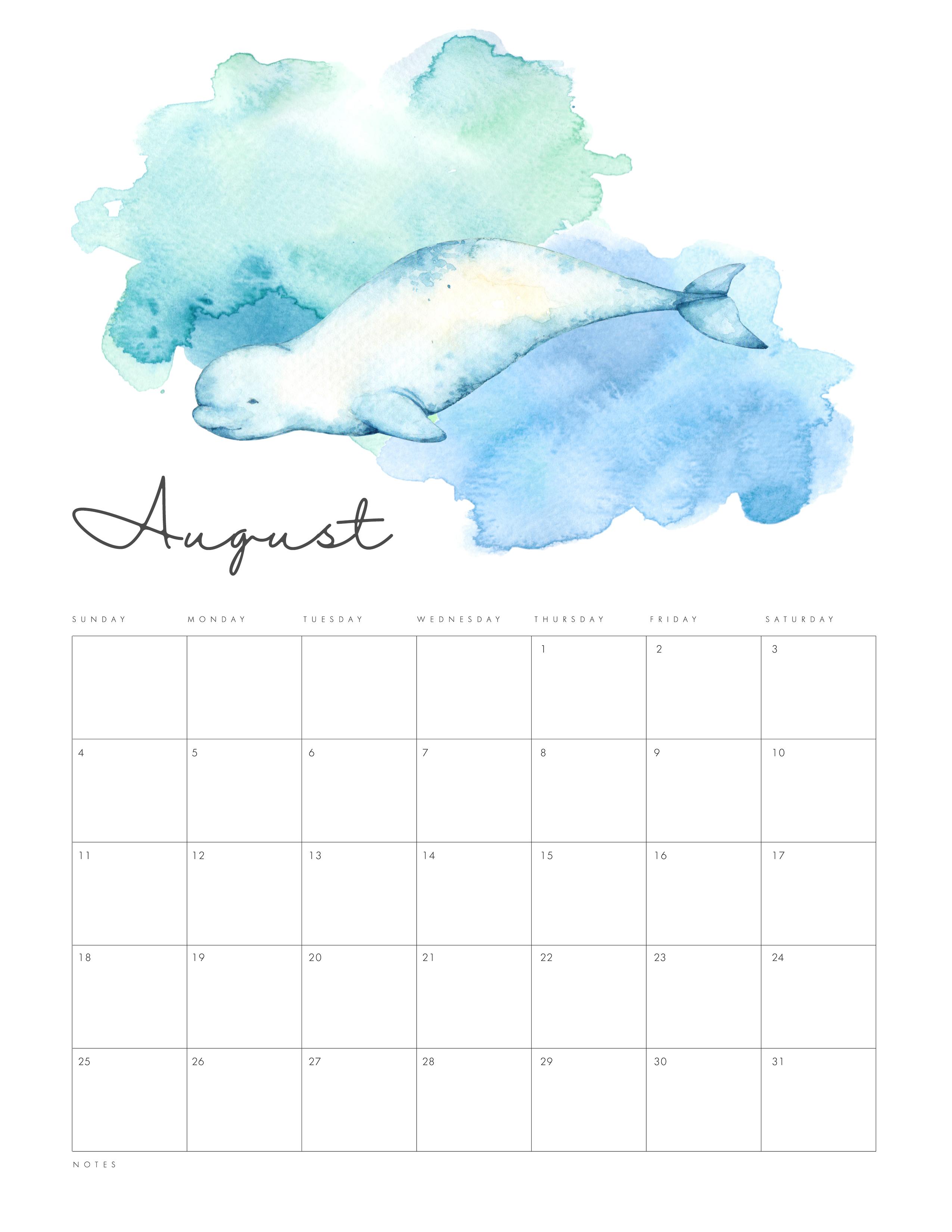 Free Printable Under The Sea Calendar