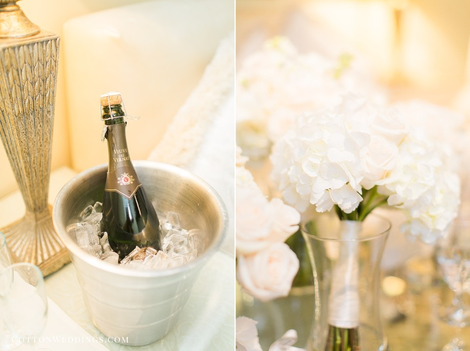 champagne and roses getting ready wedding