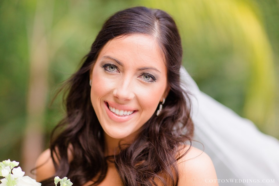 beautiful brunette bride smiling