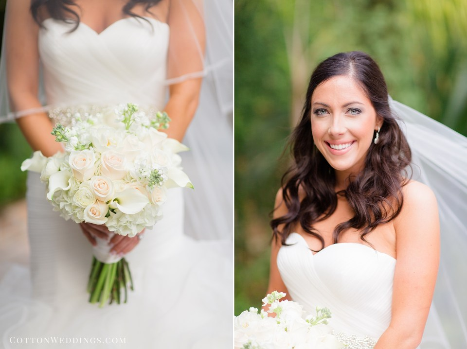 bride with white minimal bouquet