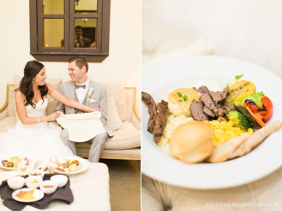 bride groom eating intimate dinner