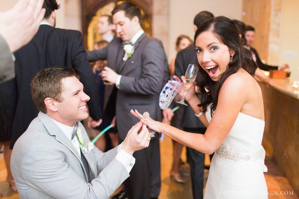 groom giving bride glow in the dark ring