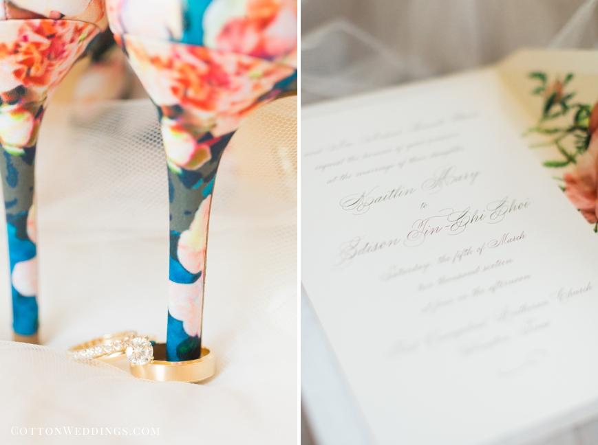 wedding invitation floral heels with wedding rings
