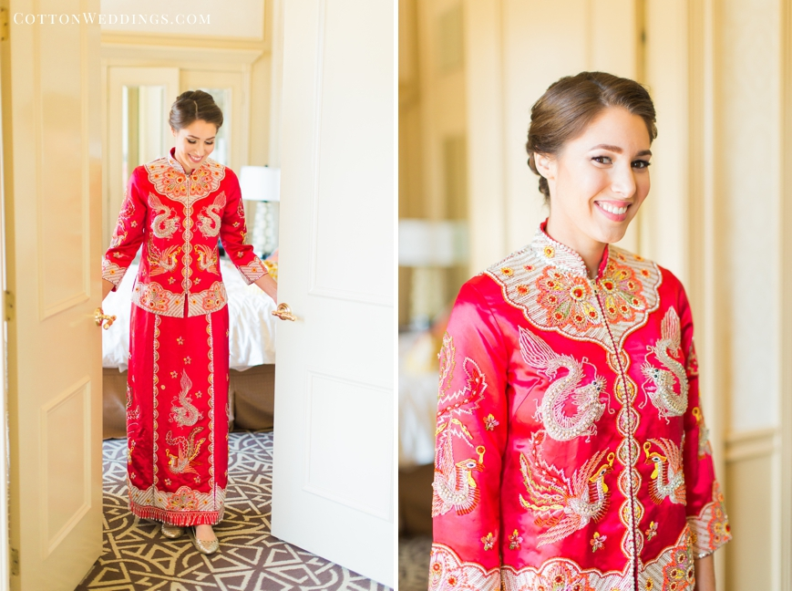 bride stepping out in traditional asian wedding dress