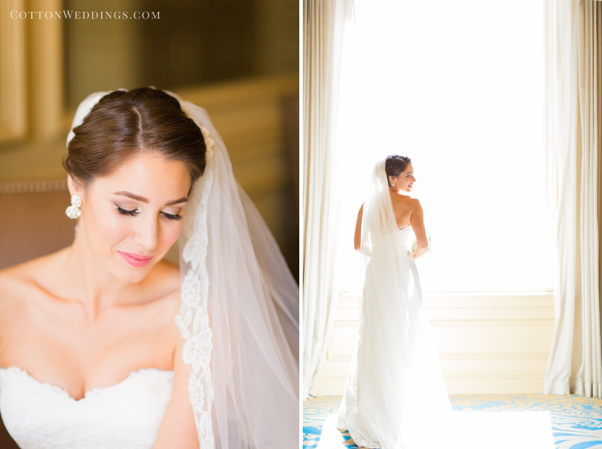 bridal portrait in front of bright window