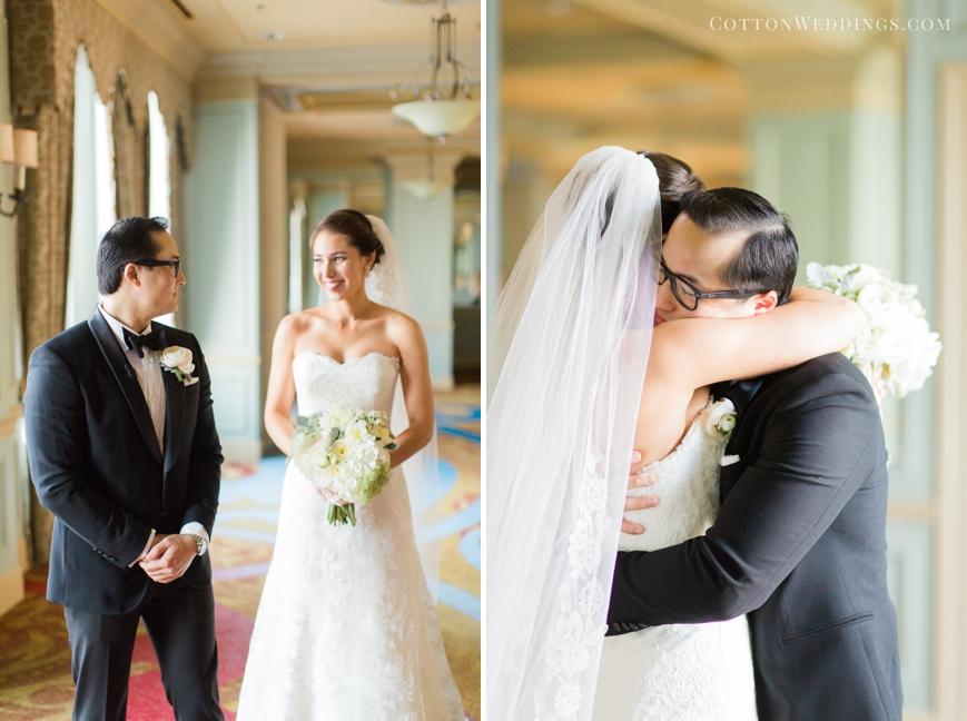 first look groom hugging bride