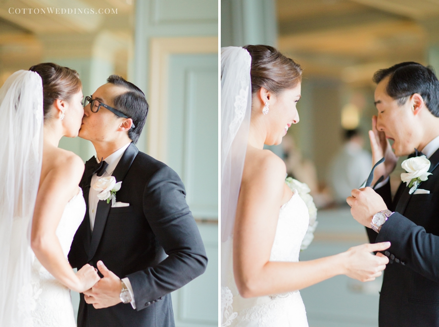 emotional groom during first look