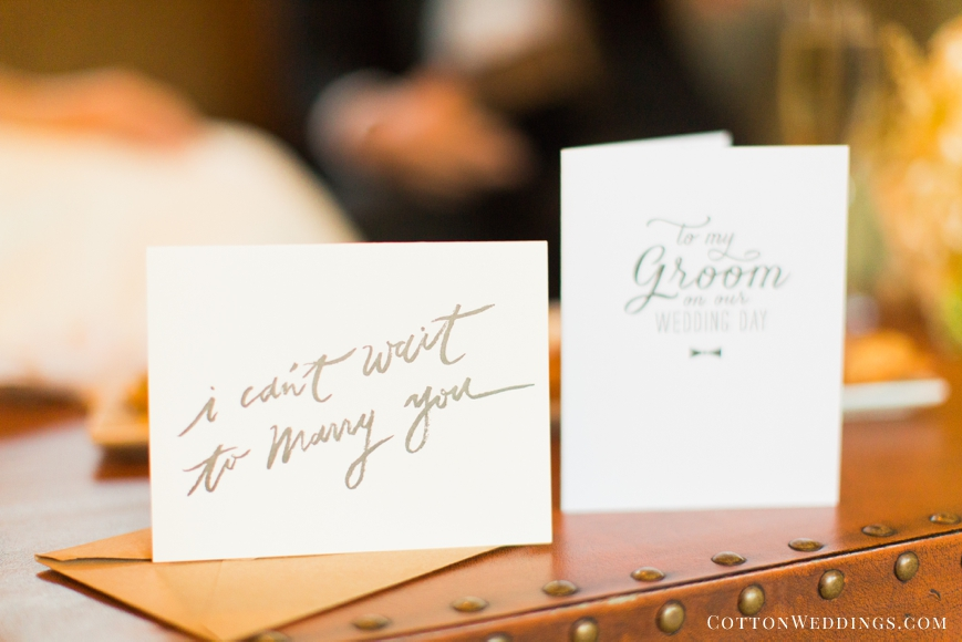 letters from bride and groom on sweet cards