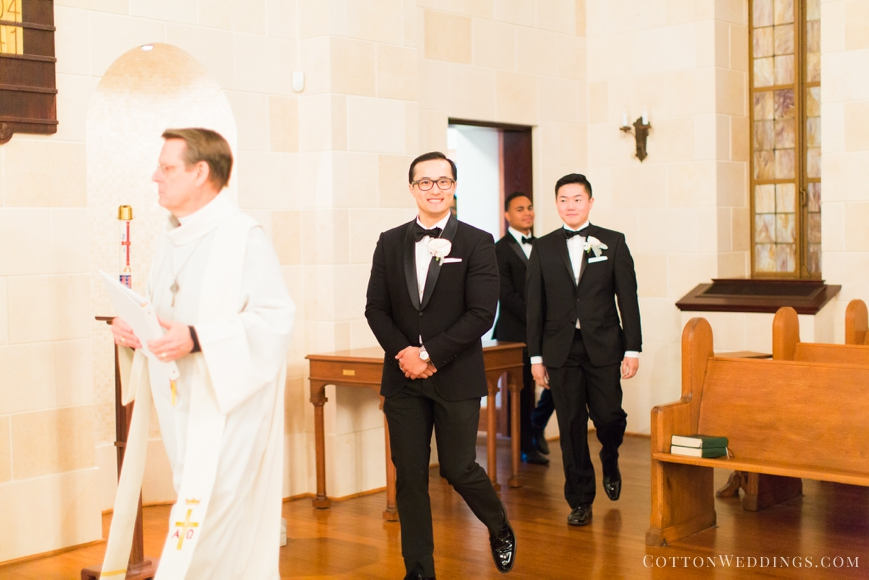 groom walking in to ceremony