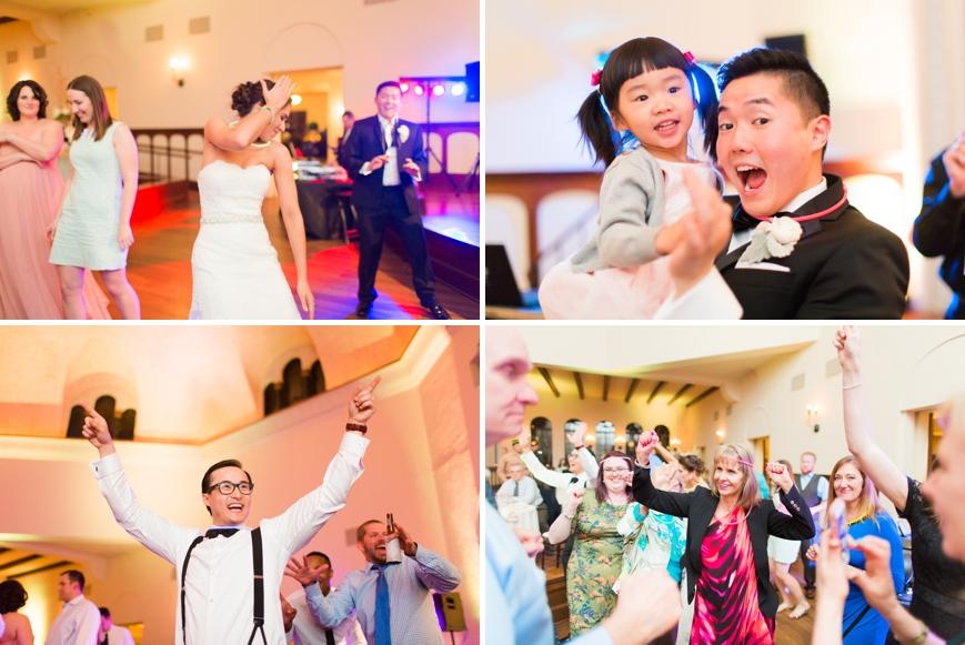 fun dancing photos during wedding reception