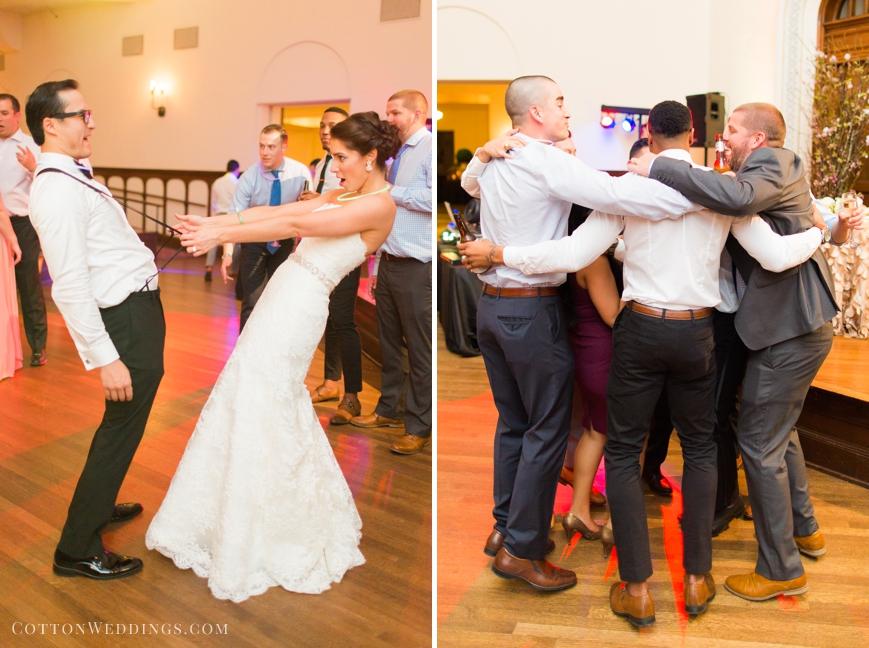 bride pulling on groom's suspenders