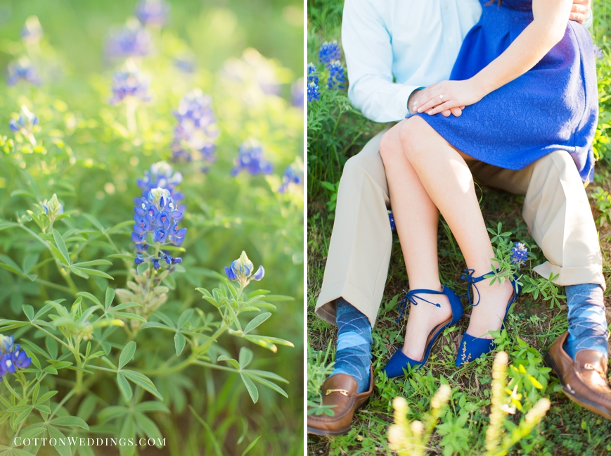 engagement session in the bluebonnets