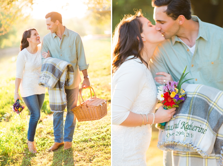 engagement session with picnic basket