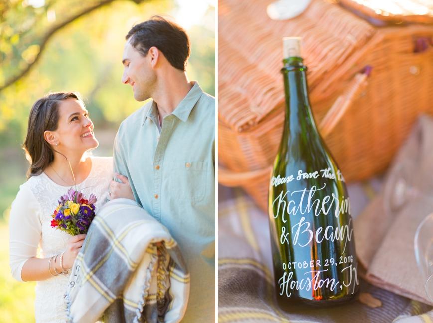 custom calligraphy wine bottle engaged couple