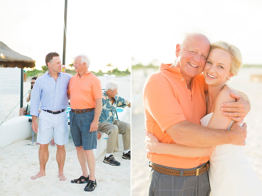 bride hugging dad on beach at rehearsal