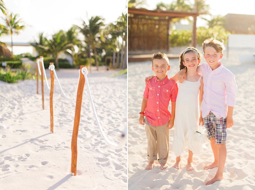 flowergirl and ring bearers on beach