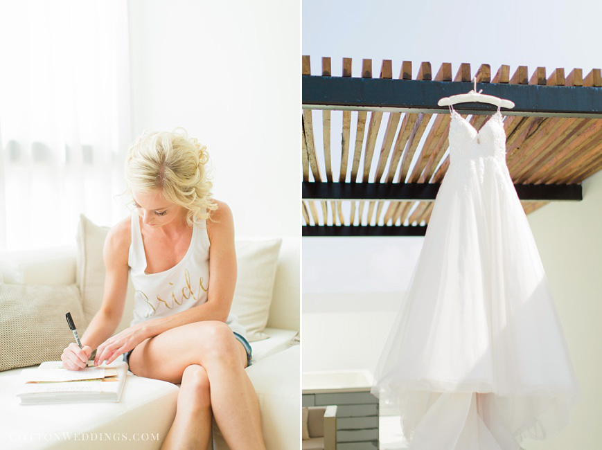 bride writing letter to groom, wedding dress hanging