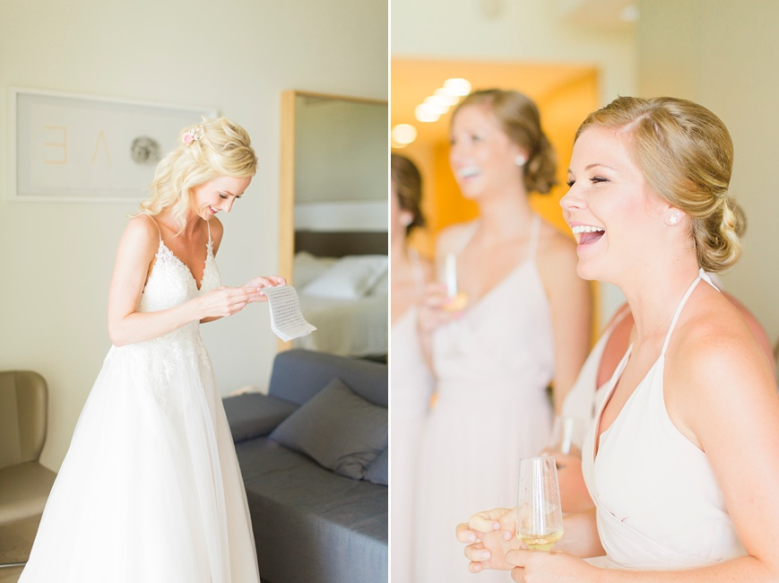 bride and bridesmaids laughing at groom's letter