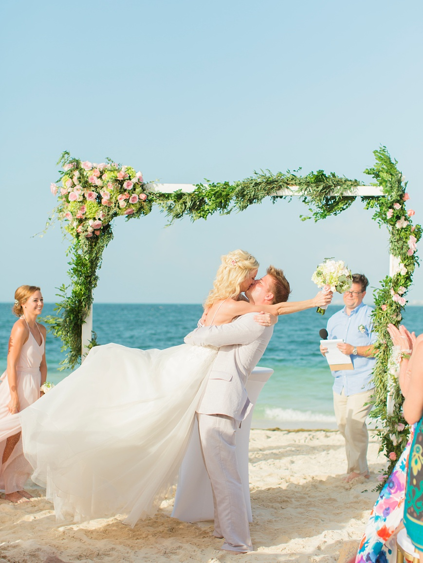 adorable first kiss cancun destination wedding Finest Playa Mujeres